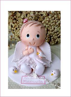 Christening cake topper with white dress. Choose baptismal dresses for children … Baptism Dress, Christening, Cake Toppers, Fondant, Centerpieces, Teddy Bear, Clay, Baby Shower, Children