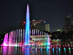 Colorful Musical Fountain Performance at KLCC Park in Kuala Lumpur, Malaysia #malaysia #kualalumpur #travel #wanderlust #fountain #colorful #color #water