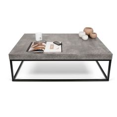 A faux concrete finish slab top puts the Petra Rectangular Coffee Table by Tema in tune with today's industrial chic decorating trend. Despite its substantial look and durability, the interior honeycomb construction makes it surprisingly lightweight. Concrete Coffee Table, Coffee Table Rectangle, Coffee Table Design, Modern Coffee Tables, Steel Coffee Table, Design Table, Cool Coffee Tables, Concrete Furniture, Cool Furniture