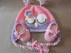 Simoni crochê: Conjunto touca e sapatilha de crochê para bebe