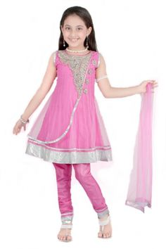 This is beautiful pink anarkali suit with mesmerizing stone work around the neck and the silver zari on the  border. This can be worn sleeveless as shown in the picture or  sleeves can be stitched on  if desired.