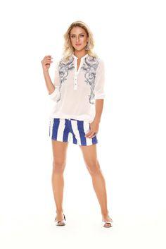 722d79d11 Camisa de chiffon bordada Richini peça única, disponível no tamanho 44.