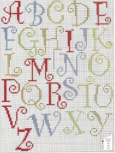 De Fio a Pavio, ponto cruz. Cute, simple cross-stitch alphabet
