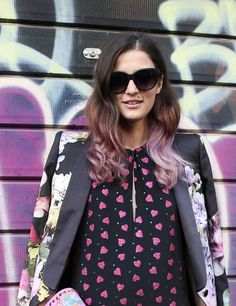 Lilac hair from ELLE's beauty street style
