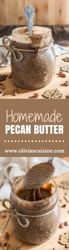 Homemade Pecan Butter | http://www.oliviascuisine.com | Why pay the big bucks for the store stuff when you can make your own Pecan Butter at home? Creamy, delicious and slightly spiced with some cinnamon. Perfect on toast, slathered on top of pancakes or waffles, added to smoothies or oatmeal and/or to give out as a holiday gift!