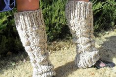 Oatmeal Knitted  Cabled Leg Warmers by EarthBoundKnits on Etsy, $40.00