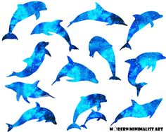 12 PNGS, Watercolor Dolphins, Dolphin Clipart, Watercolor Dolphin Clipart, Dolphins Clipart, Blue Watercolor Dolphins, Dolphin Vectors