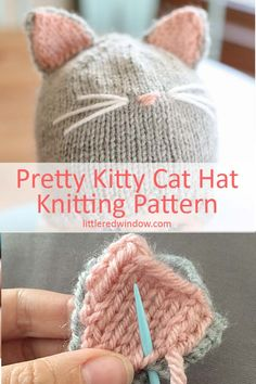 Detail view of the assembly of the knitting pattern Pretty Kitty Cat Hat! Detail view of the assembly of the knitting pattern Pretty Kitty Cat Hat! , Detail view of assembly of Pretty Kitty Cat Hat knitting pattern! Baby Hats Knitting, Free Knitting, Baby Knitting Patterns Free Newborn, Newborn Knit Hat, Knitting Looms, Baby Hat Patterns, Sweater Patterns, Chat Crochet, Crochet Hats