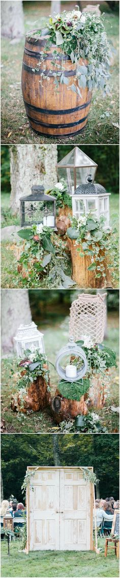Natural outdoor wedding ceremony decor, tree stumps, shabby chic lanterns, barrel topped with greenery, whitewashed wooden doors // Samantha Lauren Photographie