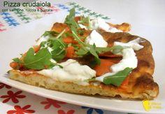 Crudaiola pizza with arugula, burrata cheese and salmon