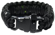 17 Piece Paracord Survival Bracelet with Fire Steel & Tinder, Complete Fishing Gear, Whistle, Safety Pins, Alcohol Wipes - 100% Handmade - High Quality (Black, Large)