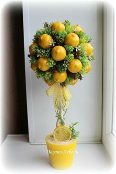Wonderful Types Of Urban Gardening Ideas. Sensational Types Of Urban Gardening Ideas. Ikebana, Lemon Kitchen Decor, Sweet Trees, Topiary Trees, Flower Ball, Spring Home Decor, Floral Arrangements, Diy And Crafts, Christmas Decorations