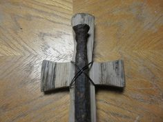 Driftwood and Iron Spike Cross Spiritual Love Cross One of a Kind Rustic Primitive by TinkersAttic on Etsy