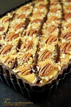 Czekoladowa tarta z orzechami pekan / Chocolate Pekan Tart (recipe in Polish) Apple Pie, Dishes, Polish, Cook, Chocolate, Recipes, Pies, Bakken, Vitreous Enamel