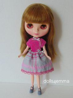 PRETTY PLAID: Babydoll Dress for Blythe - on Ebay by dolls4emma