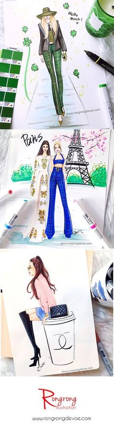 Fashion illustrations by Fashion Illustrator Rongrong DeVoe. View Daily fashion sketches on Instagram @Rongrong_DeVoe_illustration or visit her website at www.rongrongdevoe...