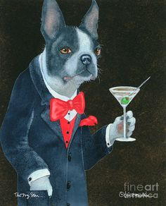 Boston Terrier Art Print featuring the painting The Dog Star. by Will Bullas The Dog Star, Boston Terrier Art, Bar Art, Fantastic Art, Art Studies, Living Room Art, Illustration Art, Illustrations, Funny Animals