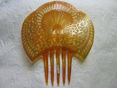 Honey Colored Celluloid Vintage High by AntiqueHaircombDepot