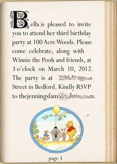 Winnie The Pooh Party invitation