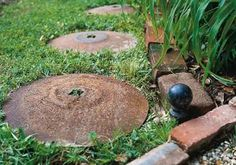 Old farm disk stepping stones