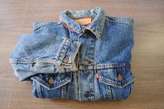 Vintage Levis Plaid Flannel Lined Jean Jacket Size 42 70411-0816 Trucker Rancher
