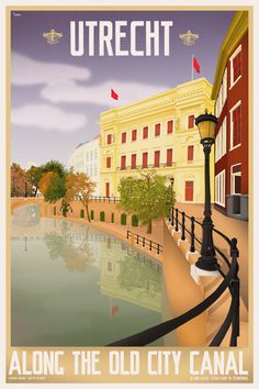 Travel Poster - Utrecht - Along the old canal - The Netherlands.