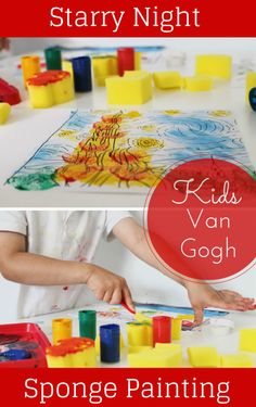 Van Gogh Starry Night inspired sponge painting activity for kids - exploring and learning about art Painting Activities, Craft Activities For Kids, Projects For Kids, Art Projects, Indoor Activities, Classroom Activities, Van Gogh, Kindergarten Art, Preschool Art