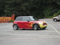 Cool paint job on this mini, spotted at the Trees of Mystery, CA Mystery, Trees, Bmw, Paint, Cool Stuff, Paintings, Tree Structure, Paint For Walls, Painting