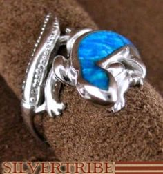 Blue Opal Ring | Southwest Jewelry | Lizard Ring | Ring Size 5-3/4