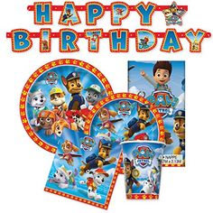 Paw Patrol Birthday Party Supplies - Tableware for 16 Guests + Decorations - https://www.partysuppliesanddecorations.com/paw-patrol-birthday-party-supplies-tableware-for-16-guests-decorations.html