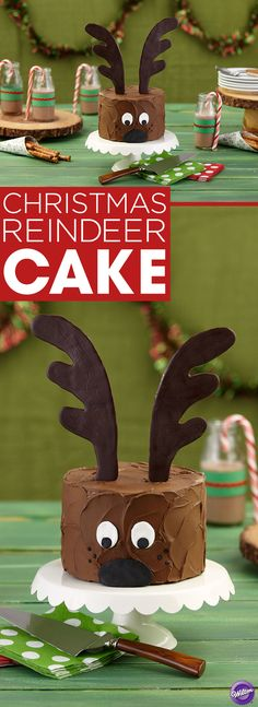 How to Make a Christmas Reindeer Cake - This reindeer is ready to deliver a delicious Christmas to your family. It's a cake you can decorate with ease, topped by giant antlers made with Wilton Dark Cocoa Candy Melts Candy.