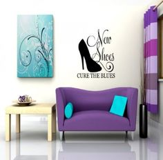 New Shoes Cure The Blues Picture Art – Living Room – Peel & Stick Sticker - Vinyl Wall Decal - Size : 10 Inches X 15 Inches - 22 Colors Available Wall Decor Stickers, Vinyl Wall Decals, Sticker Vinyl, Blue And Yellow Living Room, Blue Pictures, Rooms Home Decor, Room Accessories, Living Room Art, New Shoes