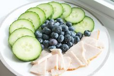 Clean Eating Snack Idea – Cucumber Slices, Blueberries and All-Natural Turkey Breast | Clean Eating Recipes - Clean Eating Diet Plan Made Easy