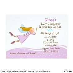Cute Fairy Godmother And Dots Birthday Invitation