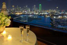 Elegant wedding reception venue with incredible view of downtown Dallas skyline, La Cima Club, Irving, TX