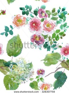 Seamless Floral Composition Roses and Rhododendron Green and Magenta - stock photo