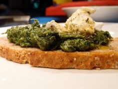 Creamy Spinach Puree on toast with herb chevre