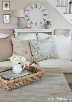 Neutral colour palette, but remove the over the top girl/ French influences. Beautiful cottage living room
