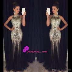 2016 Luxury Bling Black Mermaid Prom Dresses Crystals Beaded Sheer High Neck Sexy Backless Tulle Sweep Train Black Party Wear Evening Gowns Online with $205.33/Piece on Xiaoxiao_2016's Store   DHgate.com