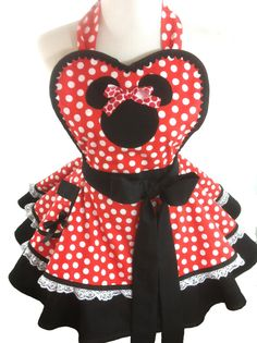 Retro Minnie Apron Minnie Costume Apron  by WellLaDiDaAprons