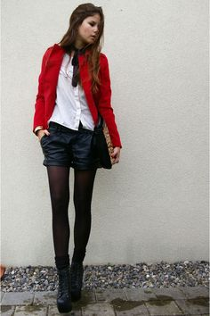 red jacket + leather shorts