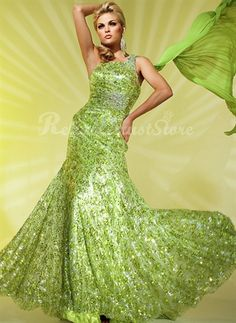 Amazing A-line One Shoulder Floor Length Sequin Prom Dress-$188.98-ReliableTrustStore.com