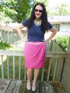 Just Another Smith: pink and white polka dot skirt, navy tee, mint necklace, white belt