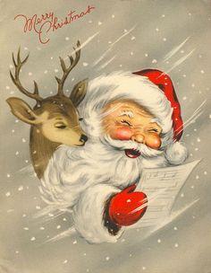 Vintage Christmas- Santa and reindeer Vintage Christmas Images, Old Fashioned Christmas, Christmas Scenes, Christmas Past, Retro Christmas, Vintage Holiday, Christmas Pictures, Christmas Greetings, Winter Christmas