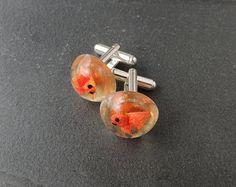 Goldfish Cufflinks Resin Jewelry Fish Cufflinks by JustKJewellery, £16.00
