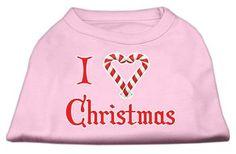 Mirage Pet Products Pet Dog I Heart Christmas Screen Print Shirt Dress Costume Light Pink Large - 14