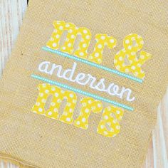 Mr and Mrs Name Applique.  This fabric not available.