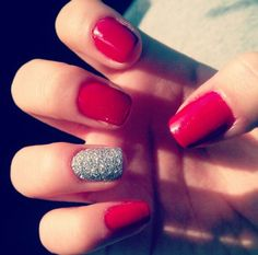 Simple but cute red and silver nails
