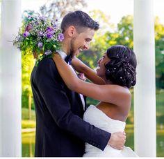 Beautiful interracial couple radiating happiness on their wedding day #love #wmbw #bwwm #swirl #biracial #mixed