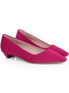 Rose Red Square Toe Low Heeled Pumps
